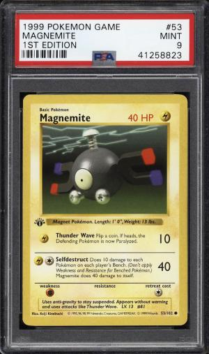 Image of: 1999 Pokemon Game 1st Edition Magnemite #53 PSA 9 MINT (PWCC)