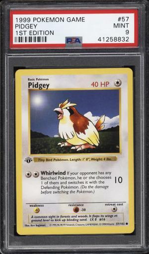 Image of: 1999 Pokemon Game 1st Edition Pidgey #57 PSA 9 MINT (PWCC)