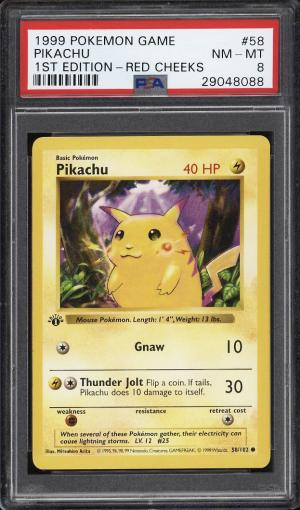 Image of: 1999 Pokemon Game 1st Edition Red Cheeks Pikachu #58 PSA 8 NM-MT (PWCC)