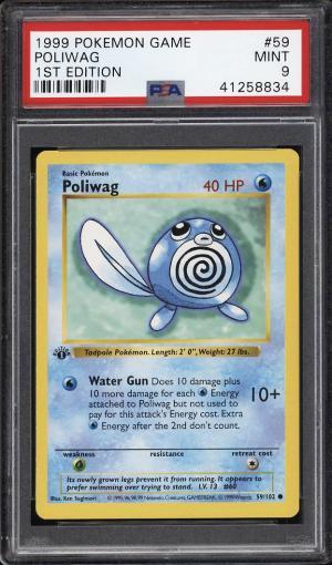 Image of: 1999 Pokemon Game 1st Edition Poliwag #59 PSA 9 MINT (PWCC)