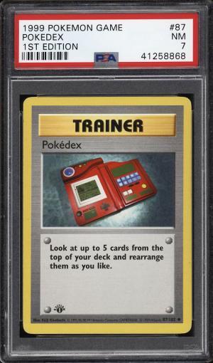 Image of: 1999 Pokemon Game 1st Edition Pokedex #87 PSA 7 NRMT (PWCC)