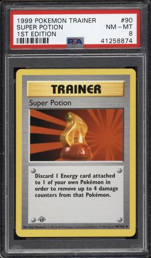 Image of: 1999 Pokemon Game 1st Edition Super Potion #90 PSA 8 NM-MT (PWCC)
