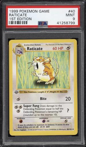 Image of: 1999 Pokemon Game 1st Edition Raticate #40 PSA 9 MINT (PWCC)