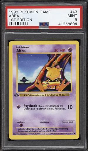 Image of: 1999 Pokemon Game 1st Edition Abra #43 PSA 9 MINT (PWCC)