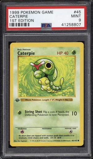 Image of: 1999 Pokemon Game 1st Edition Caterpie #45 PSA 9 MINT (PWCC)