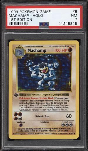 Image of: 1999 Pokemon Game 1st Edition Holo Machamp #8 PSA 7 NRMT (PWCC)