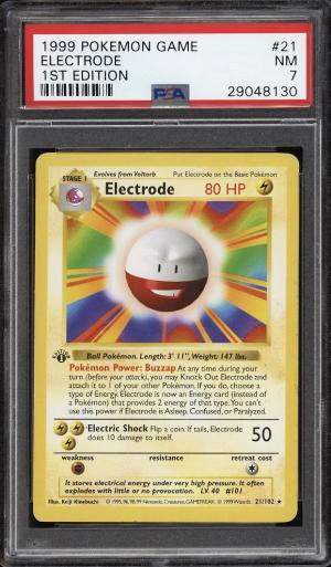 Image of: 1999 Pokemon Game 1st Edition Electrode #21 PSA 7 NRMT (PWCC)