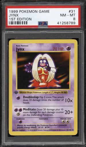 Image of: 1999 Pokemon Game 1st Edition Jynx #31 PSA 8 NM-MT (PWCC)