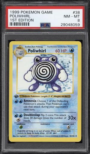 Image of: 1999 Pokemon Game 1st Edition Poliwhirl #38 PSA 8 NM-MT (PWCC)