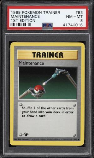 Image of: 1999 Pokemon Game 1st Edition Maintenance #83 PSA 8 NM-MT (PWCC)