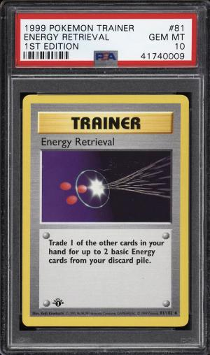 Image of: 1999 Pokemon Game 1st Edition Energy Retrieval #81 PSA 10 GEM MINT (PWCC)