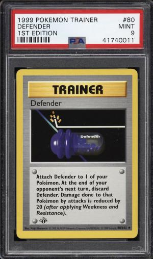 Image of: 1999 Pokemon Game 1st Edition Defender #80 PSA 9 MINT (PWCC)
