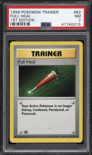 Image of: 1999 Pokemon Game 1st Edition Full Heal #82 PSA 7 NRMT (PWCC)