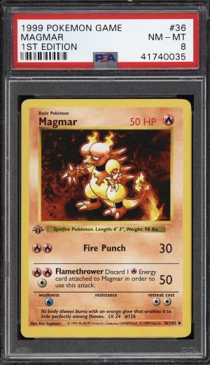 Image of: 1999 Pokemon Game 1st Edition Magmar #36 PSA 8 NM-MT (PWCC)