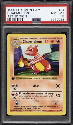 Image of: 1999 Pokemon Game 1st Edition Charmeleon #24 PSA 8 NM-MT (PWCC)