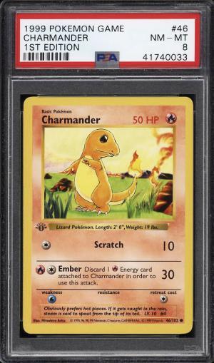 Image of: 1999 Pokemon Game 1st Edition Charmander #46 PSA 8 NM-MT (PWCC)