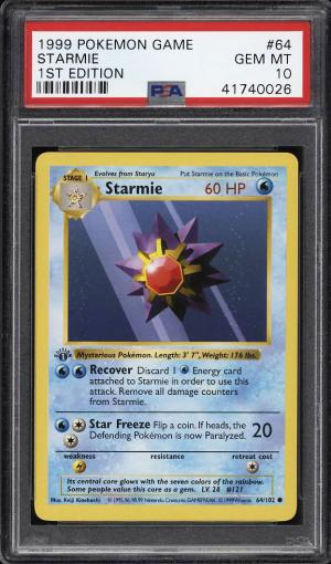 Image of: 1999 Pokemon Game 1st Edition Starmie #64 PSA 10 GEM MINT (PWCC)