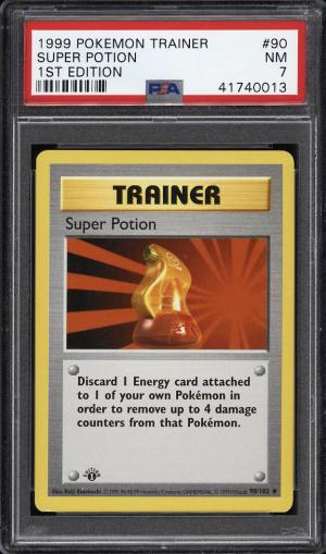 Image of: 1999 Pokemon Game 1st Edition Super Potion #90 PSA 7 NRMT (PWCC)
