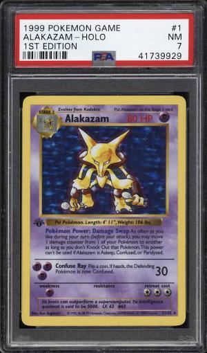 Image of: 1999 Pokemon Game 1st Edition Holo Alakazam #1 PSA 7 NRMT (PWCC)