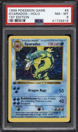 Image of: 1999 Pokemon Game 1st Edition Holo Gyarados #6 PSA 8 NM-MT (PWCC)