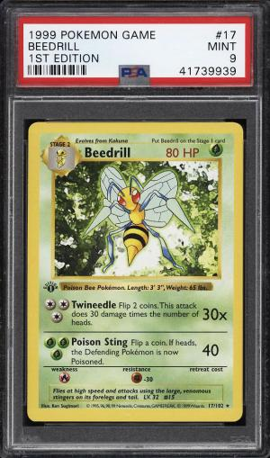 Image of: 1999 Pokemon Game 1st Edition Beedrill #17 PSA 9 MINT (PWCC)