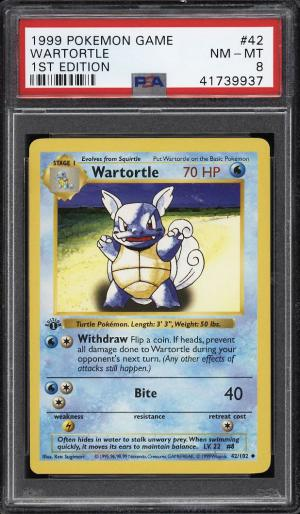 Image of: 1999 Pokemon Game 1st Edition Wartortle #42 PSA 8 NM-MT (PWCC)