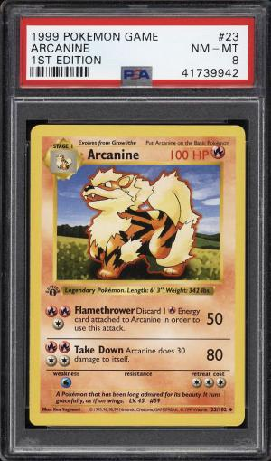 Image of: 1999 Pokemon Game 1st Edition Arcanine #23 PSA 8 NM-MT (PWCC)