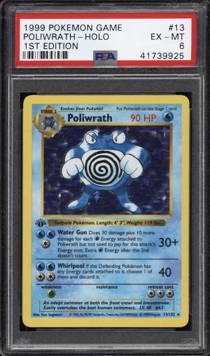 Image of: 1999 Pokemon Game 1st Edition Holo Poliwrath #13 PSA 6 EXMT (PWCC)