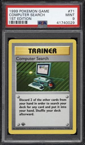 Image of: 1999 Pokemon Game 1st Edition Computer Search #71 PSA 9 MINT (PWCC)
