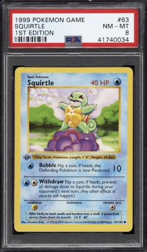 Image of: 1999 Pokemon Game 1st Edition Squirtle #63 PSA 8 NM-MT (PWCC)