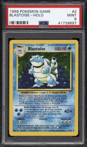 Image of: 1999 Pokemon Game Holo Blastoise #2 PSA 9 MINT (PWCC)