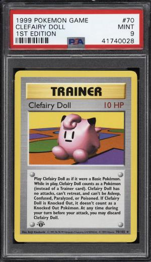Image of: 1999 Pokemon Game 1st Edition Clefairy Doll #70 PSA 9 MINT (PWCC)