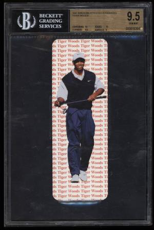 Image of: 1997 Awesome Athletes Bookmarks Tiger Woods ROOKIE RC BGS 9.5 GEM MINT (PWCC)