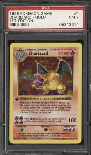 Image of: 1999 Pokemon Game 1st Edition Holo Charizard #4 PSA 7 NRMT (PWCC)