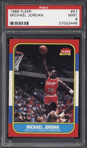 Image of: 1986 Fleer Basketball SETBREAK Michael Jordan #57 PSA 9 MINT (PWCC)