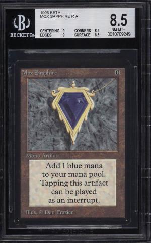 Image of: 1993 Magic The Gathering MTG Beta Mox Sapphire R A BGS 8.5 NM-MT+ (PWCC)
