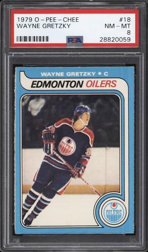 Image of: 1979 O-Pee-Chee Hockey Wayne Gretzky ROOKIE RC #18 PSA 8 NM-MT (PWCC)
