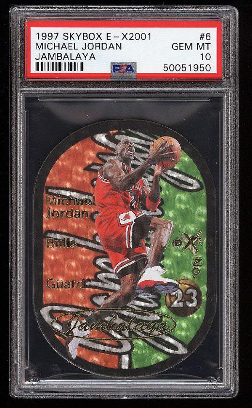 Image 1 of: 1997 Skybox E-X2001 Jambalaya Die-Cut Michael Jordan #6 PSA 10 GEM MINT (PWCC)