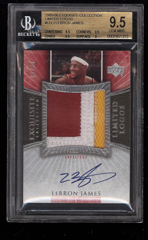 Image 1 of: 2005 Exquisite Limited Logos LeBron James AUTO PATCH /50 BGS 9.5 GEM MINT (PWCC)