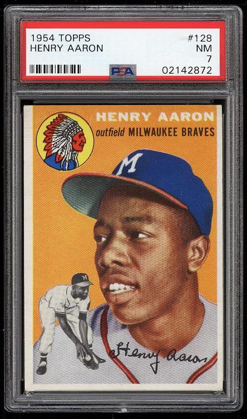 Image 1 of: 1954 Topps Hank Aaron ROOKIE RC #128 PSA 7 NRMT (PWCC)