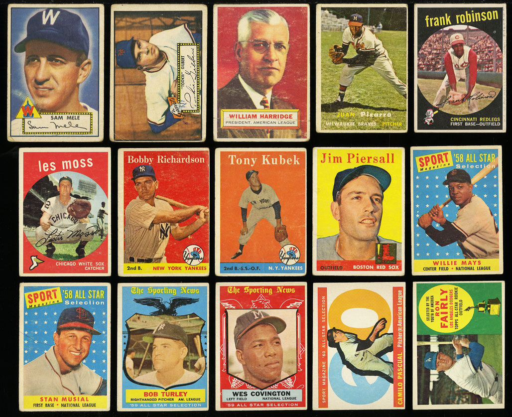 Image 1 of: Lot(58) 1952-68 Topps w/ Mays Aaron Ruth Mantle Maris McCovey, GD/VG (PWCC)