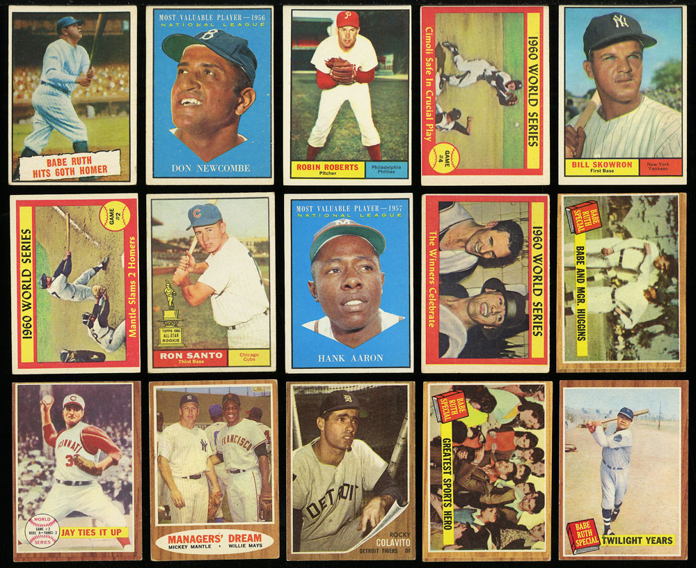 Image 3 of: Lot(58) 1952-68 Topps w/ Mays Aaron Ruth Mantle Maris McCovey, GD/VG (PWCC)