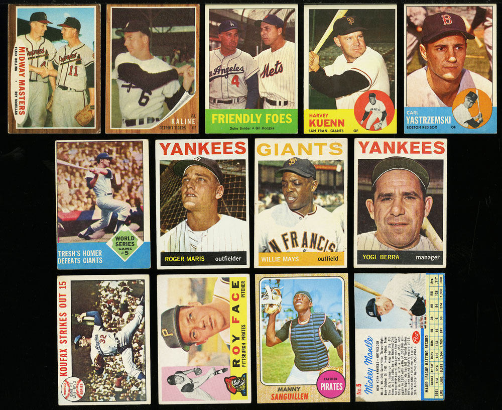 Image 4 of: Lot(58) 1952-68 Topps w/ Mays Aaron Ruth Mantle Maris McCovey, GD/VG (PWCC)