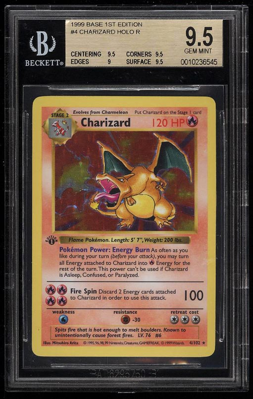 Image 1 of: 1999 Pokemon Game 1st Edition Holo Charizard #4 BGS 9.5 GEM MINT (PWCC)
