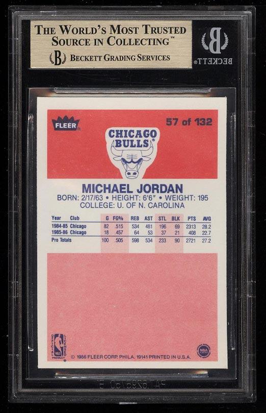Image 2 of: 1986 Fleer Basketball Michael Jordan ROOKIE RC #57 BGS 9.5 GEM MINT (PWCC)