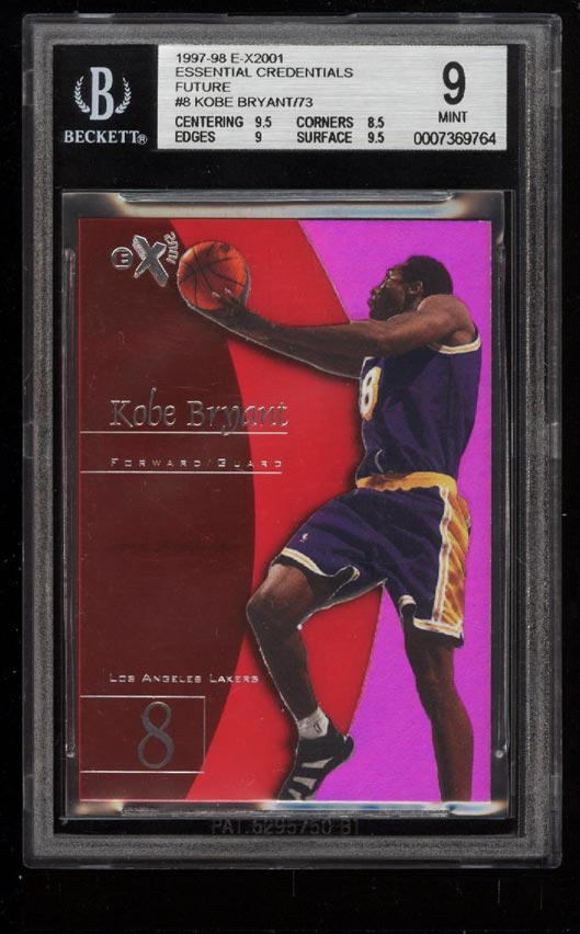 Image 1 of: 1997-98 E-X2001 Essential Credentials Future Kobe Bryant /73 #8 BGS 9 MT (PWCC)
