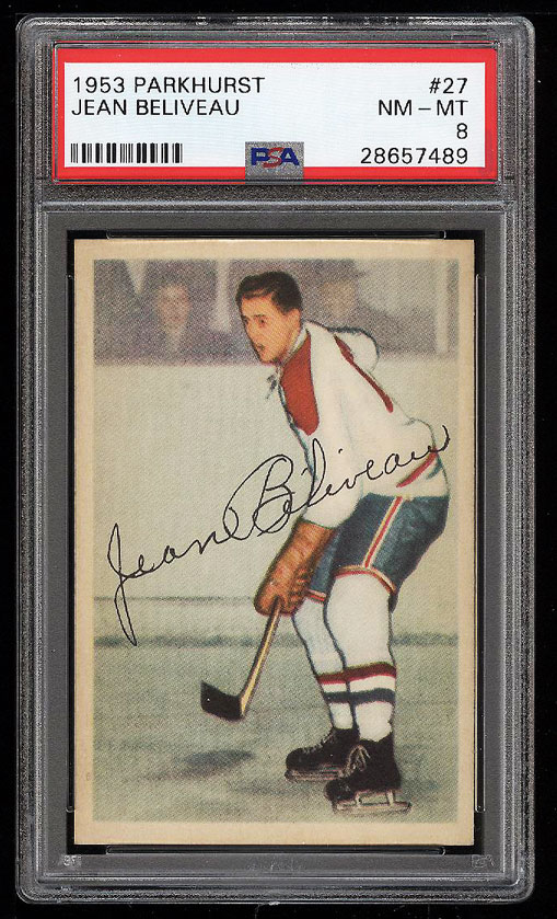 Image 1 of: 1953 Parkhurst Jean Beliveau ROOKIE RC #27 PSA 8 NM-MT (PWCC)