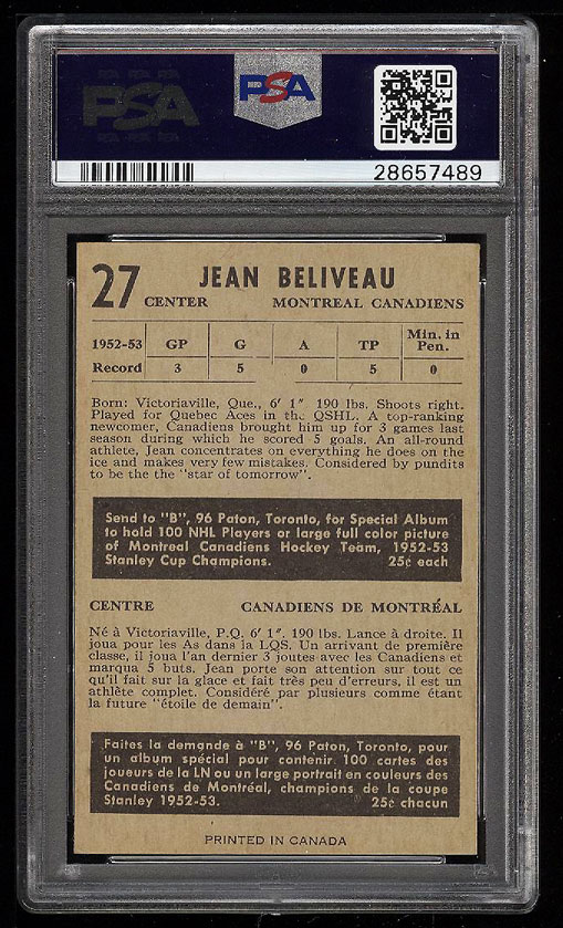 Image 2 of: 1953 Parkhurst Jean Beliveau ROOKIE RC #27 PSA 8 NM-MT (PWCC)