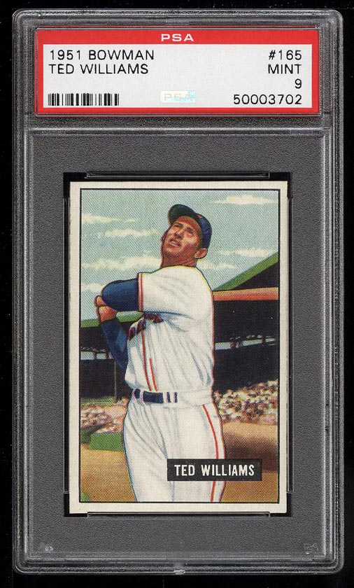 Image 1 of: 1951 Bowman Ted Williams #165 PSA 9 MINT (PWCC)