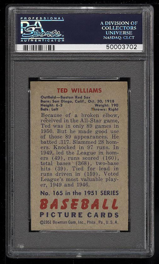 Image 2 of: 1951 Bowman Ted Williams #165 PSA 9 MINT (PWCC)